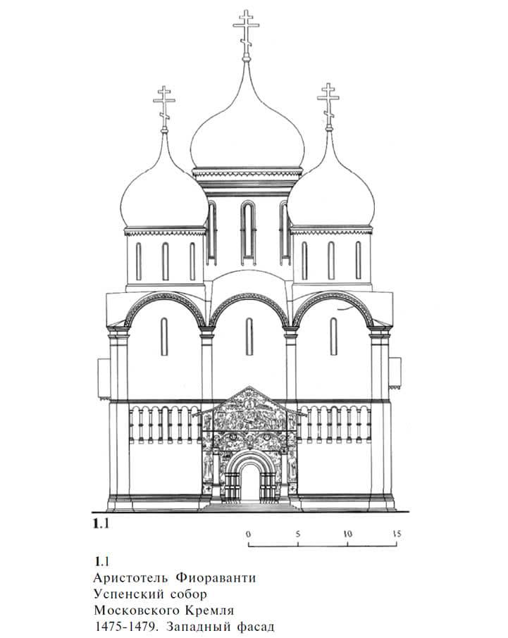 1.1. Аристотель Фиораванти. Успенский собор Московского Кремля 1475-1479. Западный фасад
