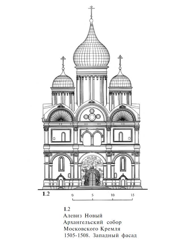 1.2. Алевиз Новый. Архангельский собор Московского Кремля 1505-1508. Западный фасад