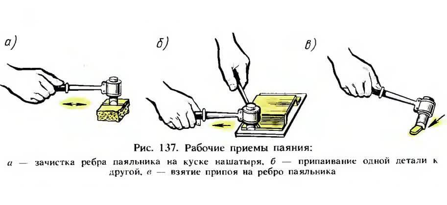 Рис. 137. Рабочие приемы паяния