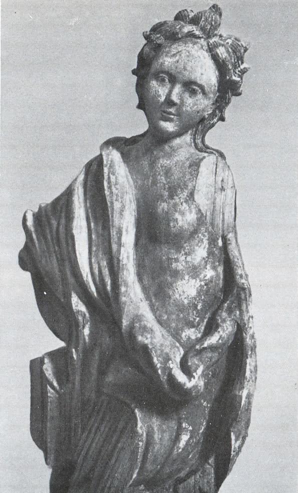 Деревянная резная фигура ангела с иконостаса собора Троице-Гледенского монастыря