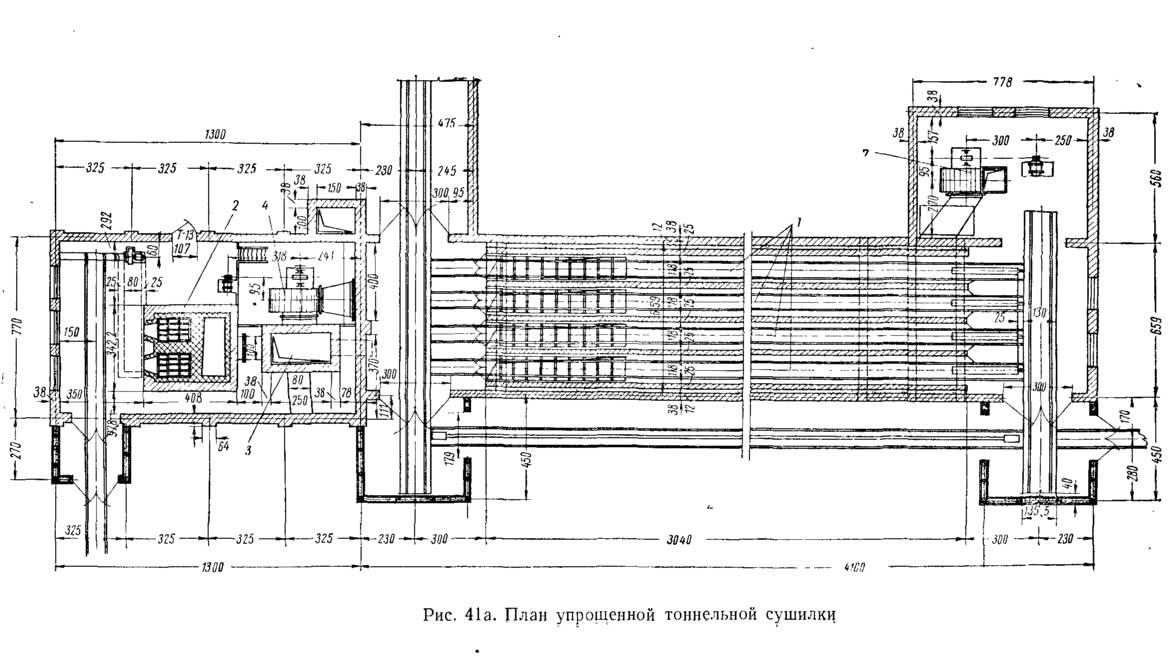 Рис. 41а. План упрощенной тоннельной сушилки