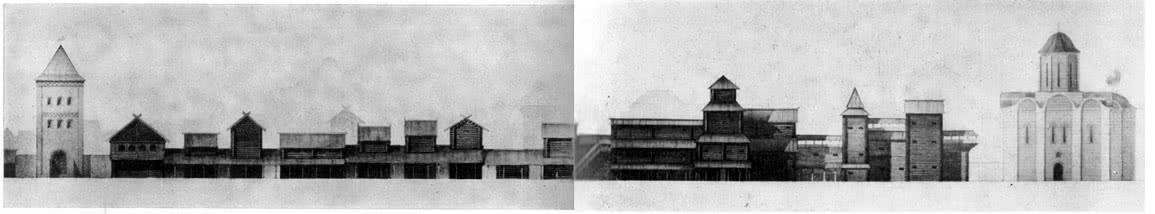 Застройка Большого Ярославого двора XII в. Реконструкция автора и О. Косьминой