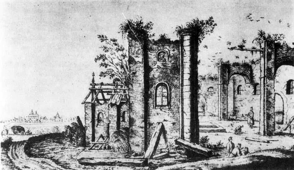 Церковь первой половины XII в. на рисунке А. Вестерфельда