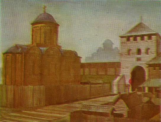 Федоров монастырь XII в. и Софийские ворота X в. Реконструкция автора. Рисунок Е. Тузмана