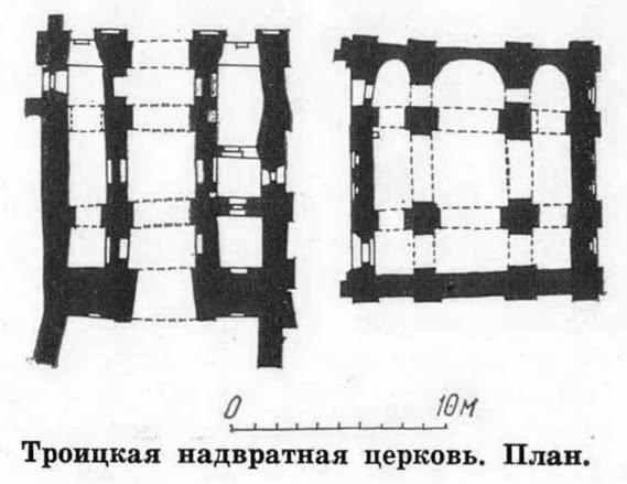 Троицкая надвратная церковь. План
