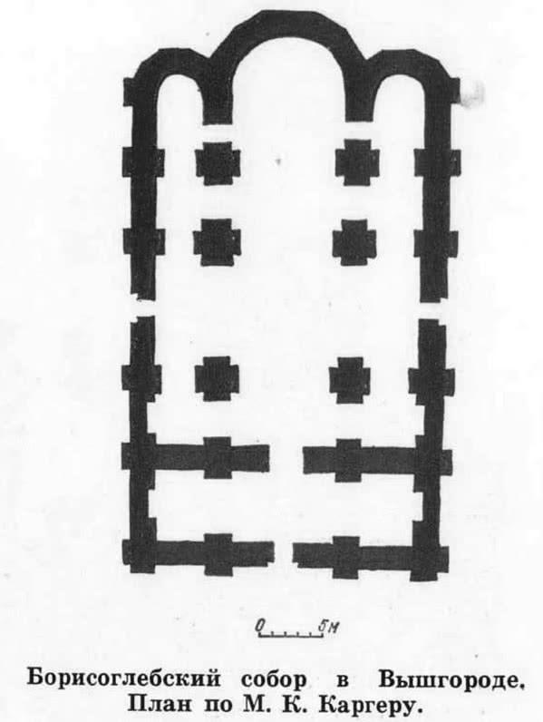 Борисоглебский собор в Вышгороде. План по М. К. Каргеру