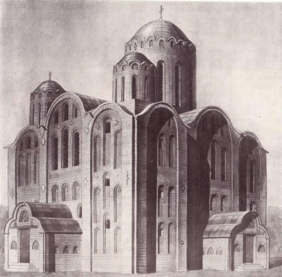 Церковь Спаса на Берестове. Реконструкция автора и В. А. Харламова