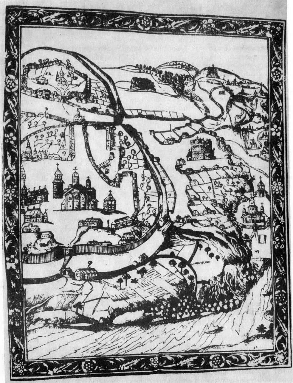 План Киева 1637 г. Гравюра А. Кальнофойского