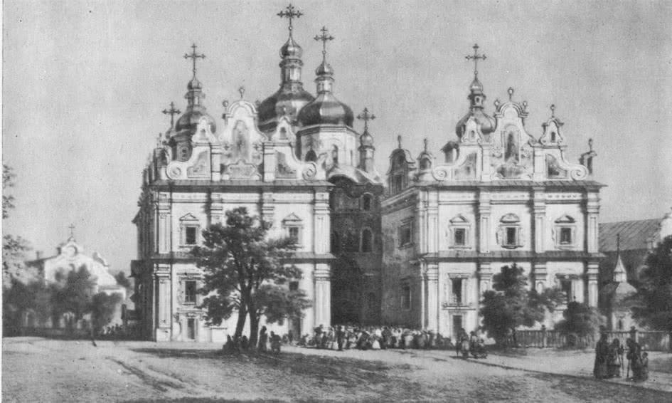 Успенский собор Печерского монастыря. Западный фасад. Рисунок XIX в