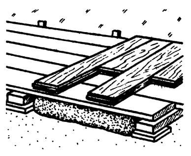 Укладка массивной доски перпендикулярно лагам