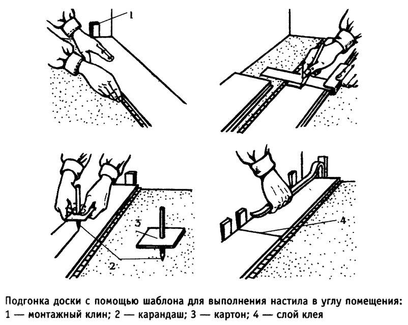 Подгонка доски с помощью шаблона для выполнения настила в углу помещения