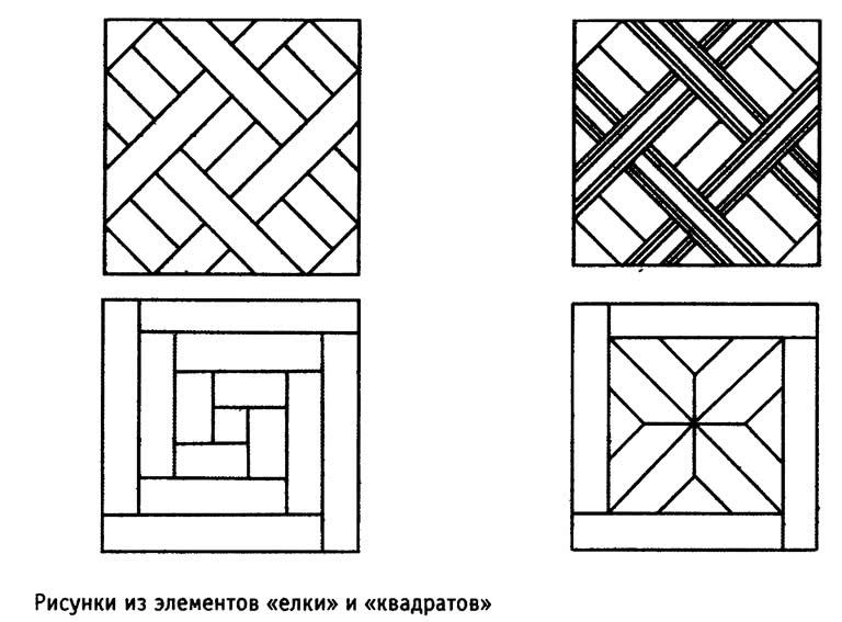 Рисунки из элементов «елки» и «квадратов»