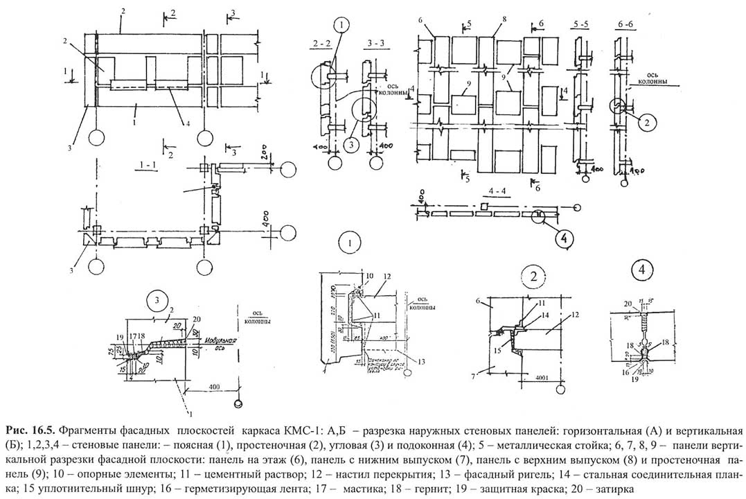 Рис. 16.5. Фрагменты фасадных плоскостей каркаса КМС-1