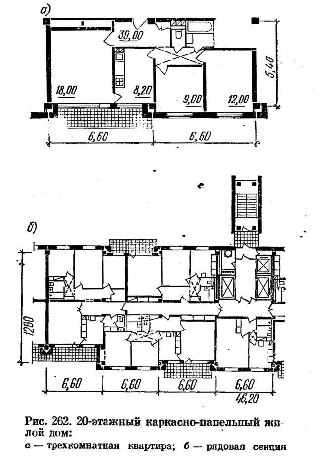 Рис. 262. 20-этажный каркасно-панельный жилой дом