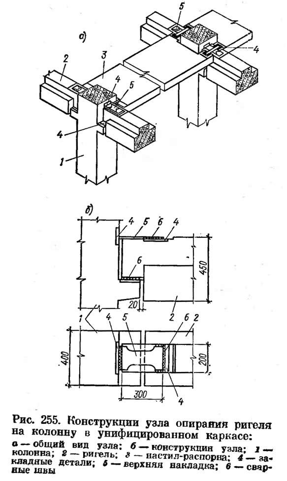 Рис. 255. Конструкции узла опирания ригеля на колонну в унифицированном каркасе
