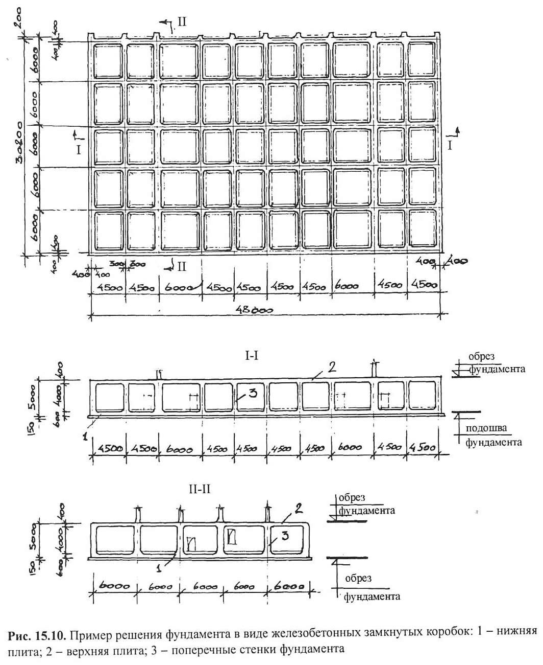 Рис. 15.10. Пример решения фундамента в виде ж/б замкнутых коробок
