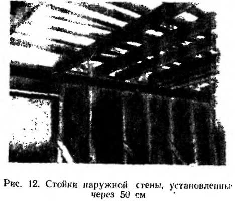 Рис. 12. Стойки наружной стены, установленнные через 50 см