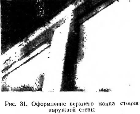 Рис. 31. Оформление верхнего конца стойкам наружной стены