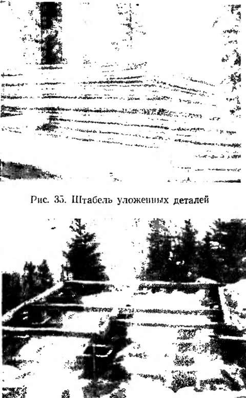 Рис. 35 и 36. Штабель уложенных деталей