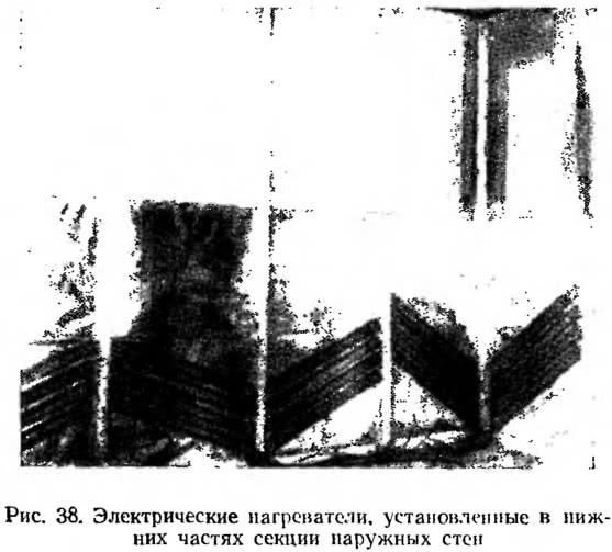 Рис. 38. Электрические нагреватели в нижних частях секции стен