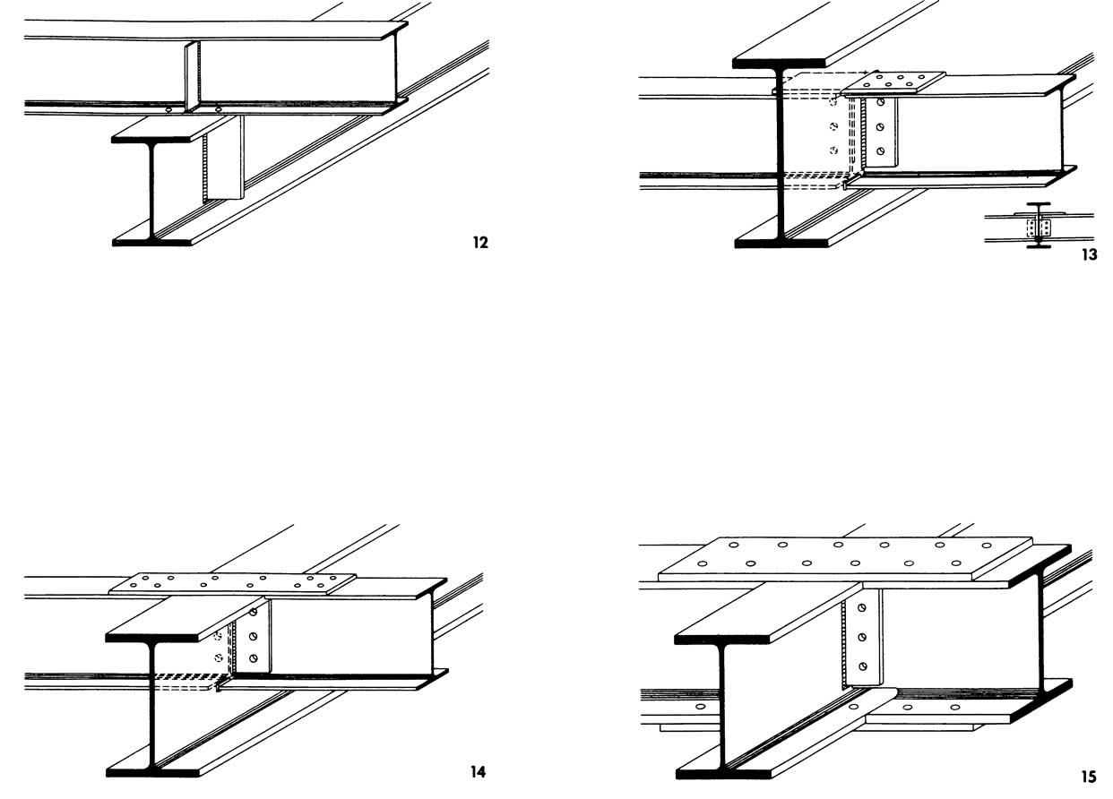 Рисунки 12-15. Конструкции креплений, передающих поперечные силы и изгибающие моменты