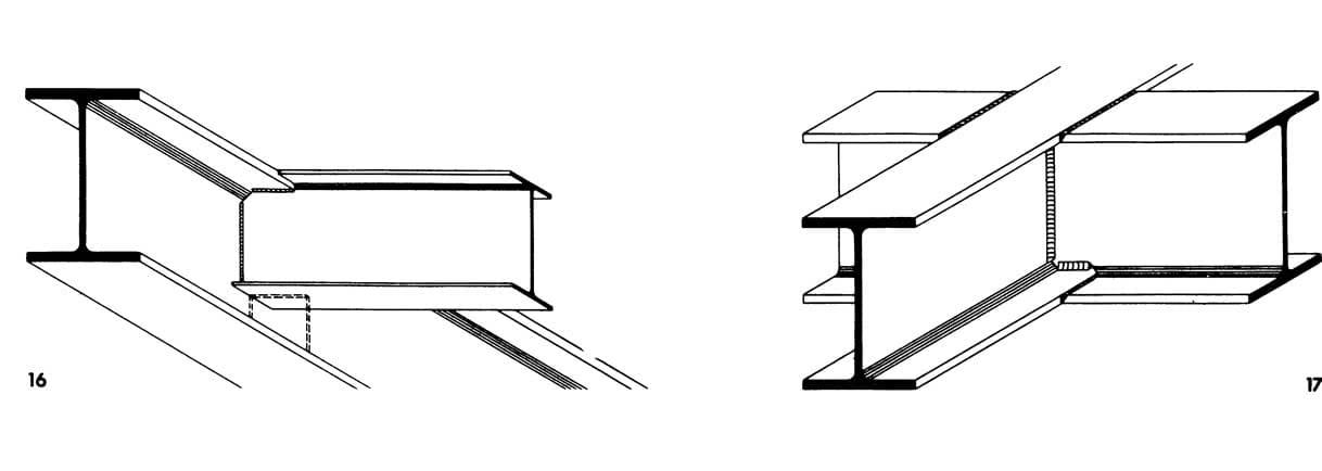 Рисунки 16-17. Полностью сварные соединения балок