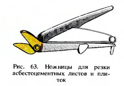 Рис. 63. Ножницы для резки асбестоцементных листов и плиток