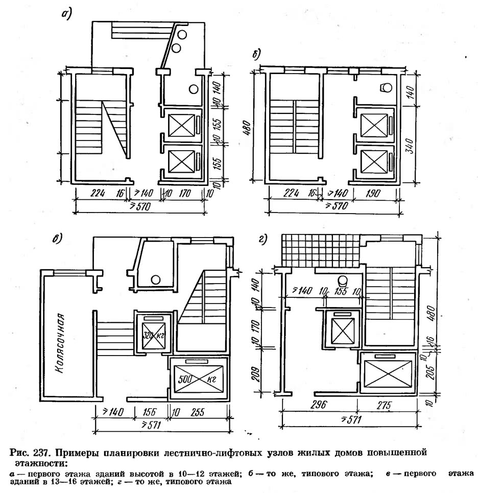 Рис. 237. Примеры планировки лестнично-лифтовых узлов жилых домов повышенной этажности