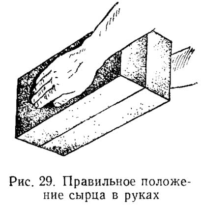 Рис. 29. Правильное положение сырца в руках