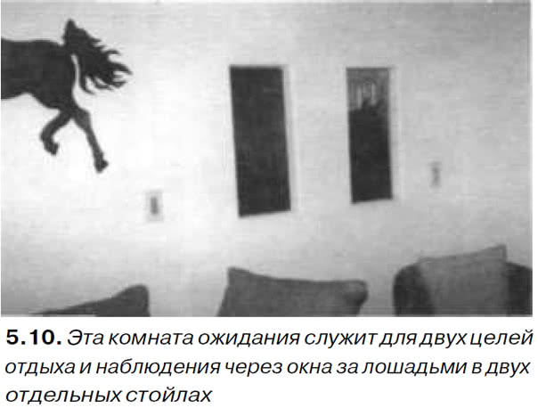 5.10. Эта комната ожидания служит для отдыха и наблюдения через окна за лошадьми