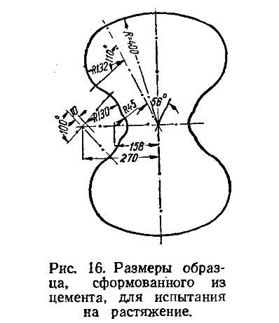 Рис. 16. Размеры образца, сформованного из цемента