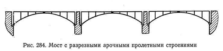 Рис. 284. Мост с разрезными арочными пролетными строениями