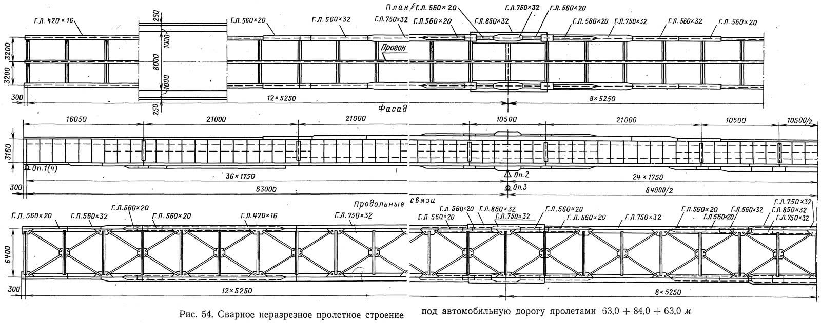Рис. 54. Сварное неразрезное пролетное строение под автомобильную дорогу