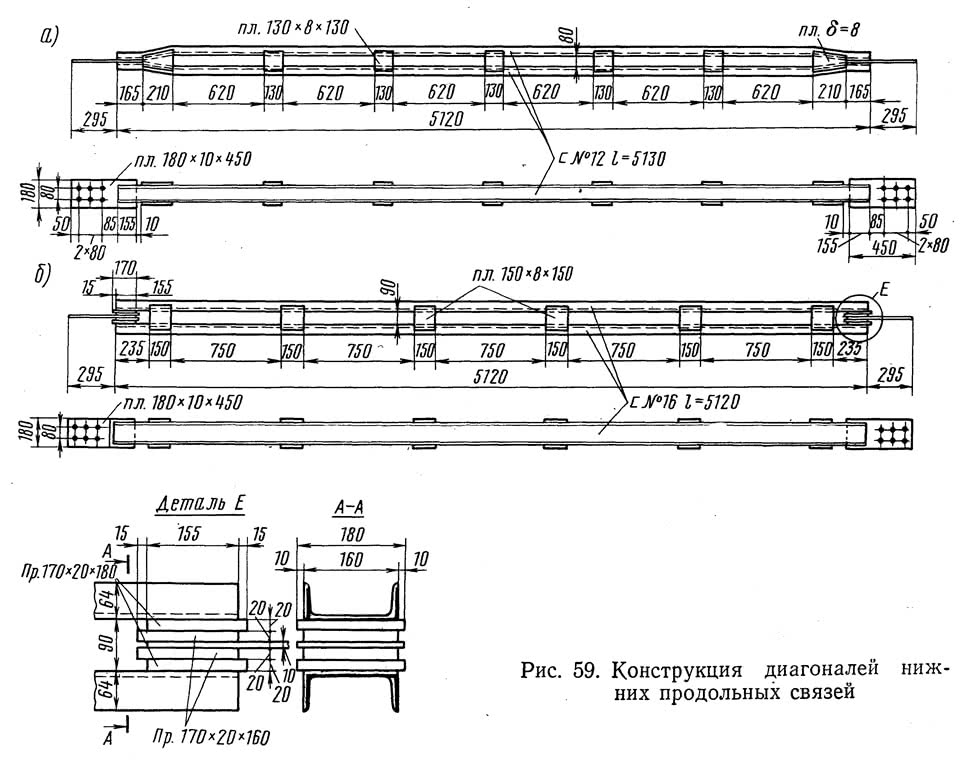 Рис. 59. Конструкция диагоналей нижних продольных связей