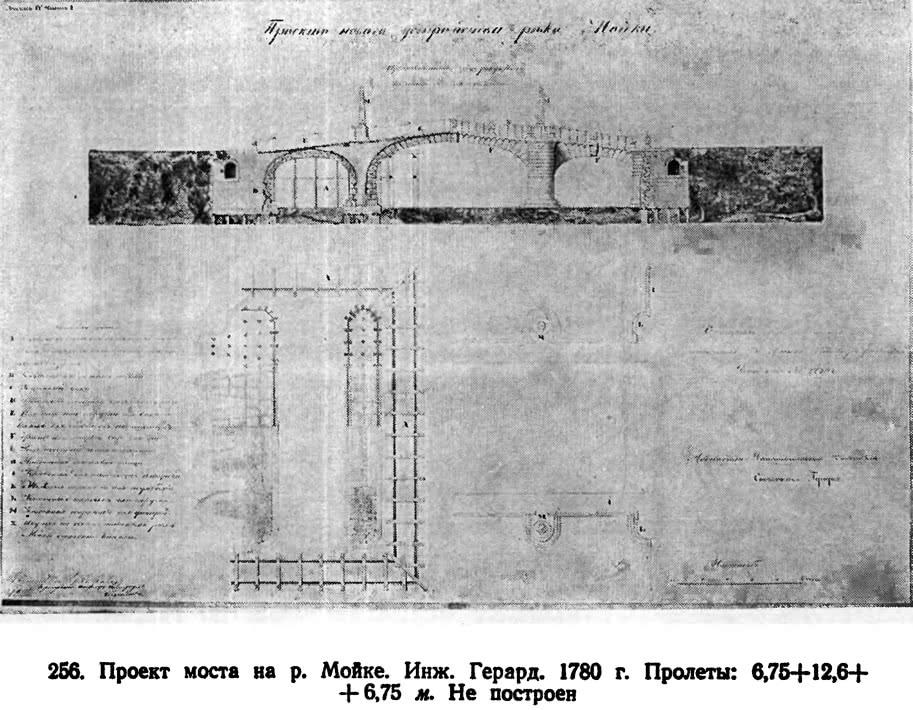256. Проект моста на р. Мойке. Инж. Герард