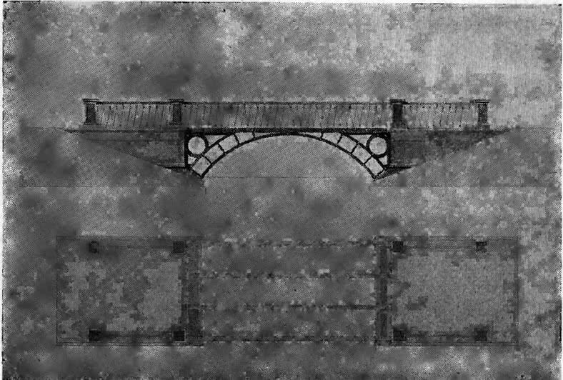275. Арочный мостик в парке г. Пушкина. Чертеж