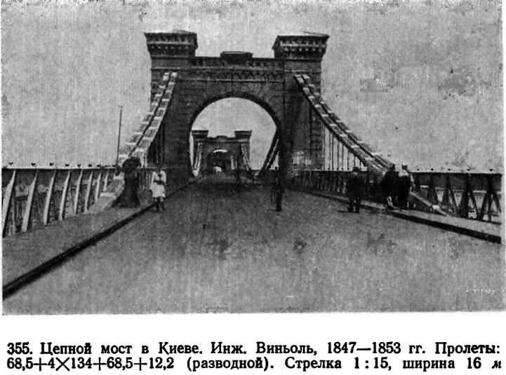 355. Цепной мост в Киеве. Инж. Виньоль
