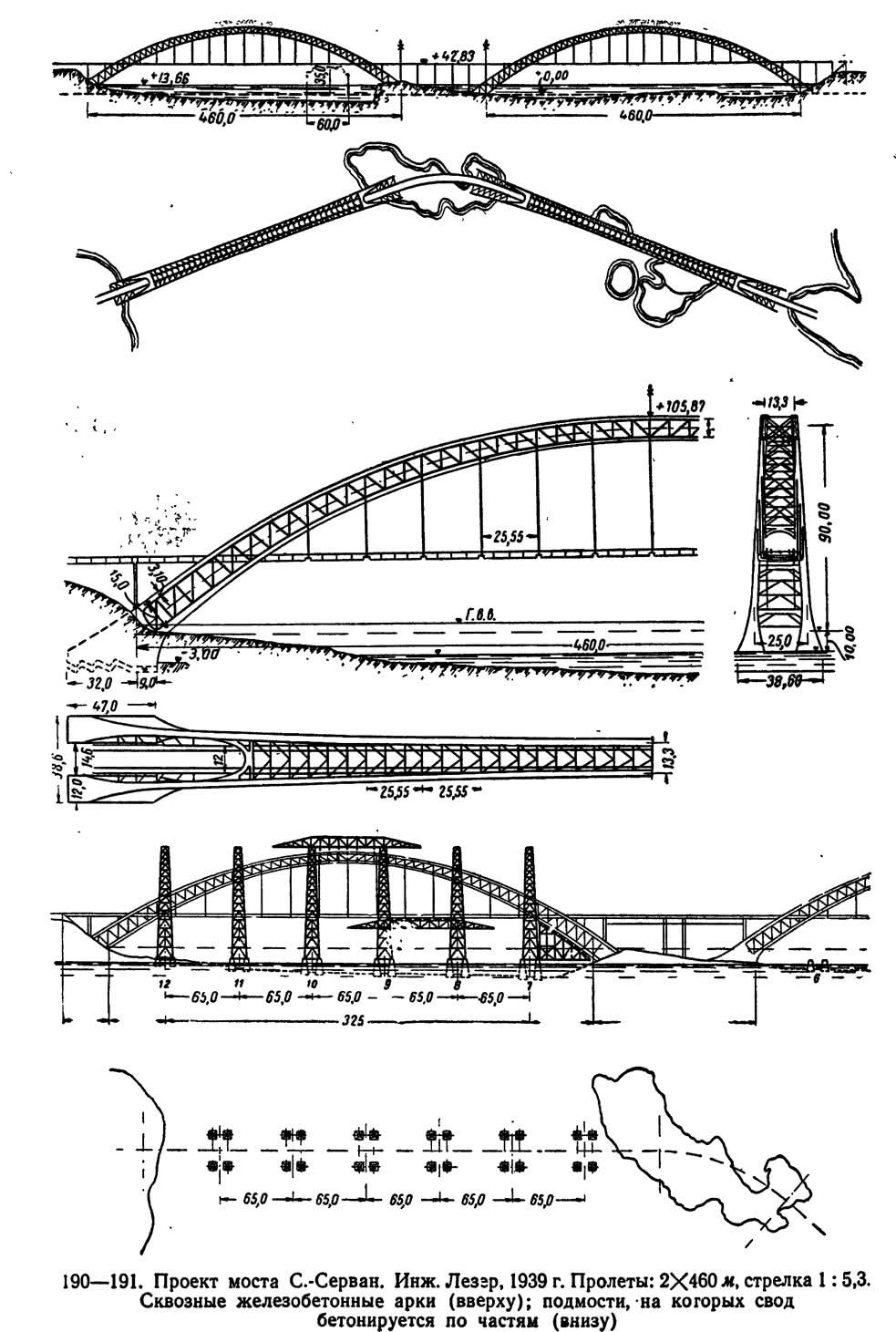 190—191. Проект моста С.-Серван. Инж. Леззр
