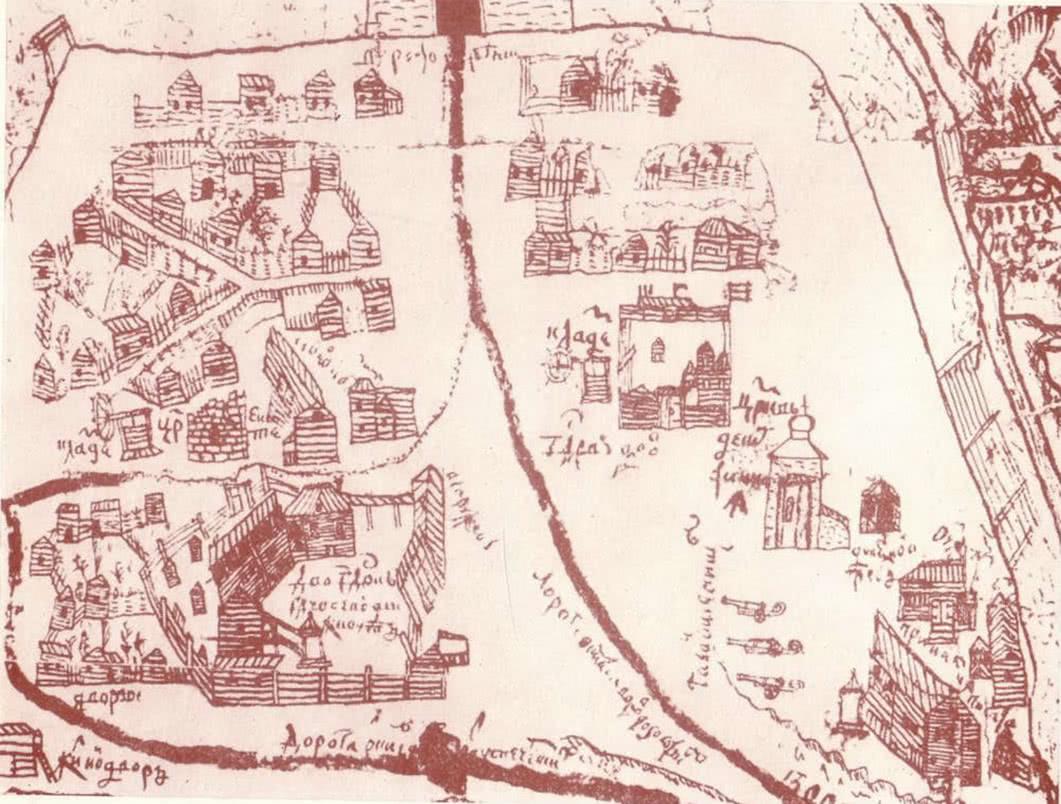 Застройка киевского детинца в XVII в. Часть плана И. Ушакова 1695 г.