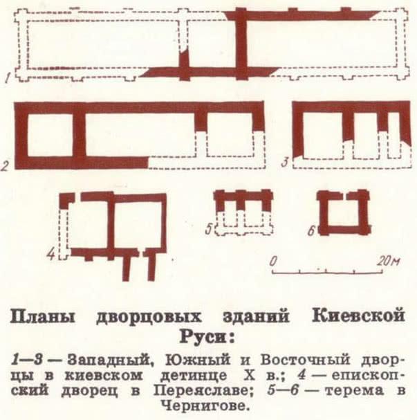 Планы дворцовых зданий Киевской Руси