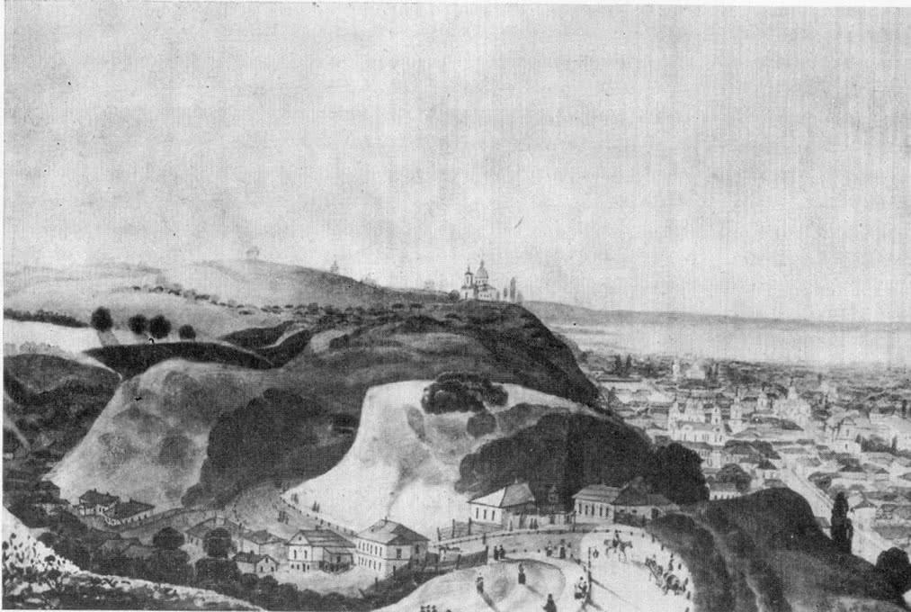 Андреевский спуск, Замковая гора и Щекавица в первой половине XIX в