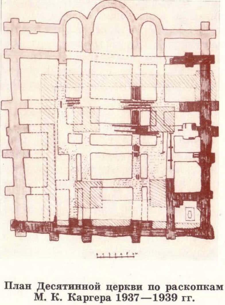 План Десятинной церкви по раскопкам М. К. Каргера 1937—1939 гг.