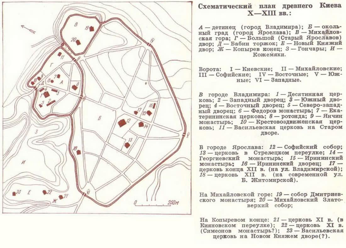 Схематический план древнего Киева X—XIII вв