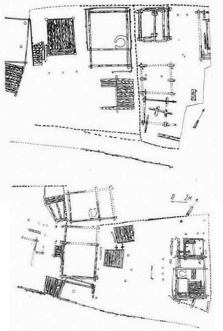 Планы усадеб X—XII вв. на Подоле по материалам раскопок