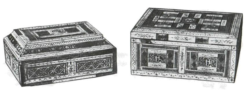 Деревянные шкатулки, украшенные резной костью