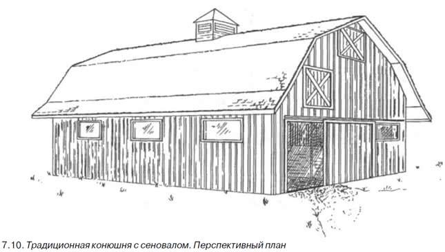 7.10. Традиционная конюшня с сеновалом. Перспективный план