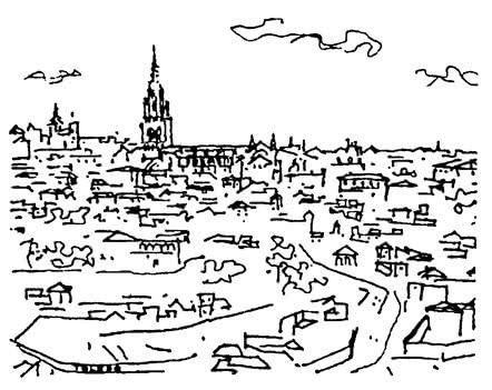 Испания. Толедо. Панорама города. Путевые зарисовки 1975 г.