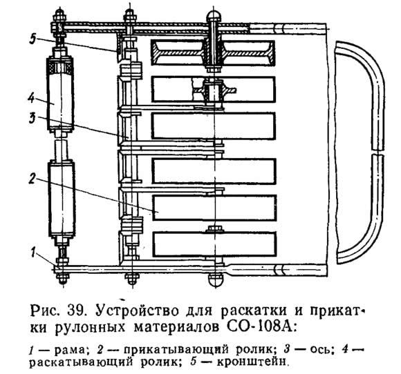 Рис. 39. Устройство для раскатки и прикатки рулонных материалов СО-108А
