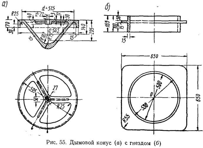 Рис. 55. Дымовой конус с гнездом