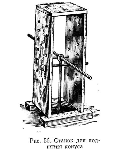 Рис. 56. Станок для поднятия конуса